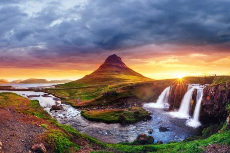 Waterfalls in a beautiful river at sunset in Iceland
