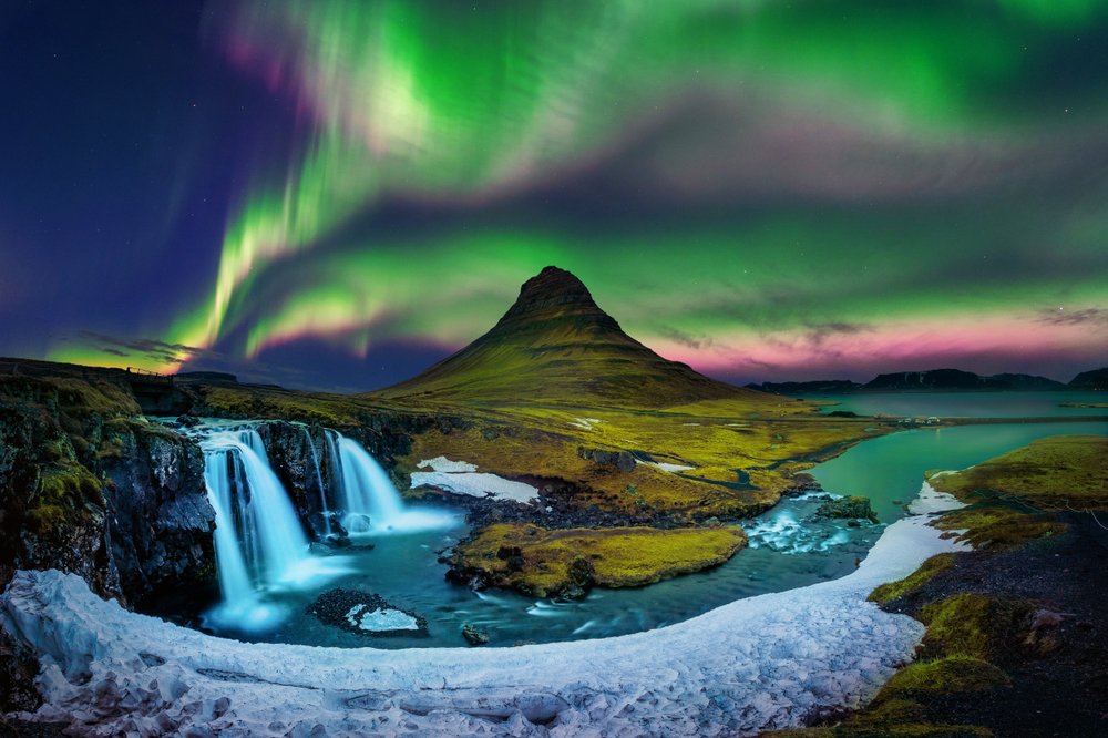 Northern lights and waterfalls in Iceland