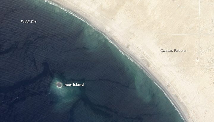 Zalzala Jazeera, which means earthquake island, appeared off the coast of Pakistan after a 7.7-magnitude earthquake in 2013. After six years, the island has vanished beneath the waves. (Image credit: NASA)