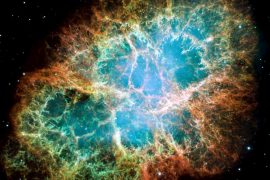 This photo of the crab nebula shows incredible colors and textures.