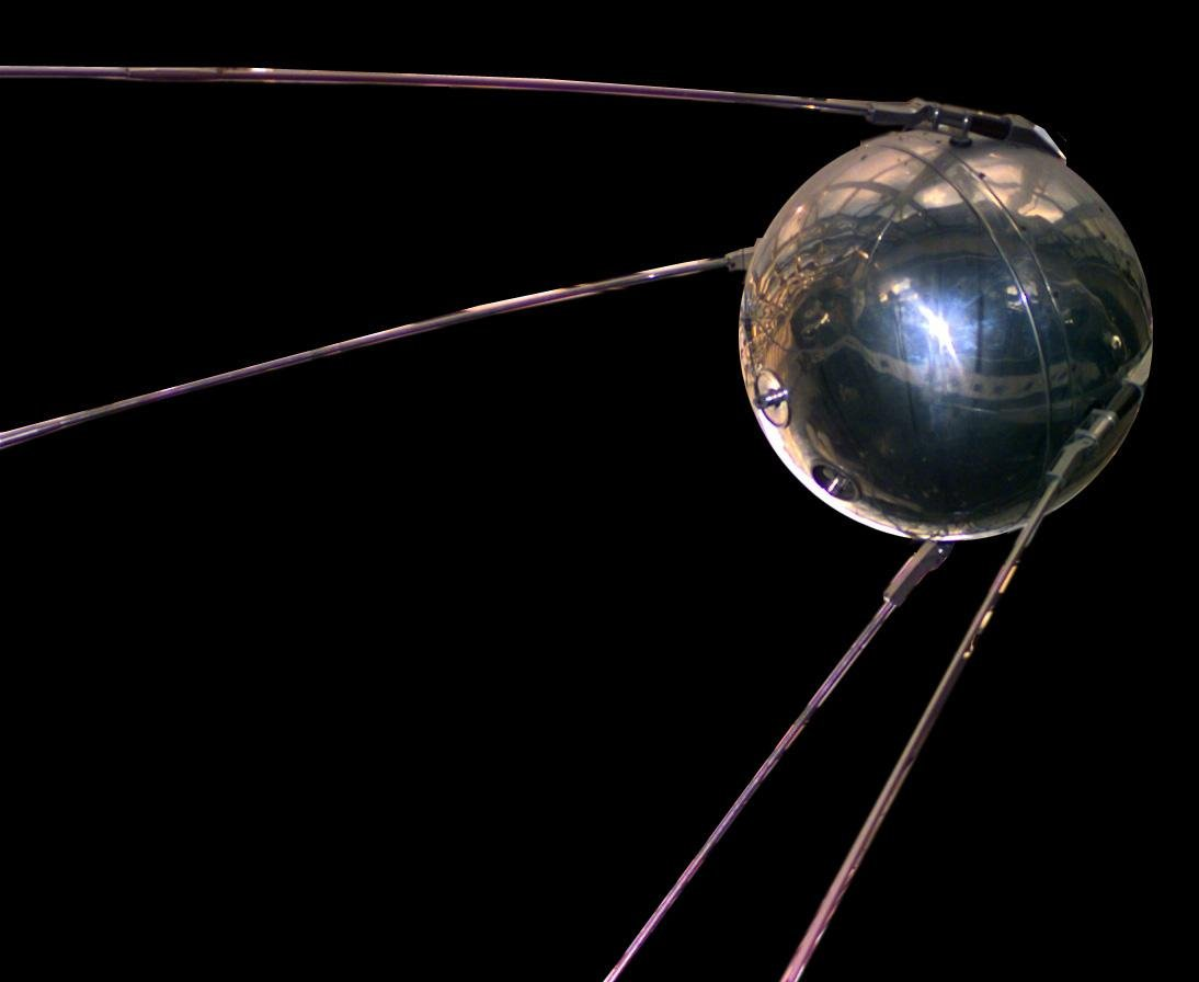 A replica of the original Russian sputnik satellite that was the first artificial satellite to orbit the earth.