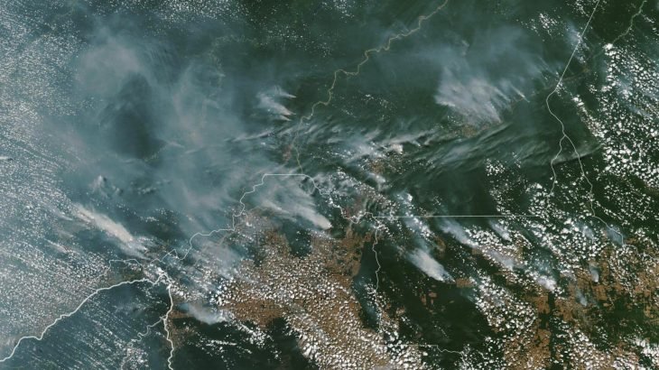 Wildfires burning across the Amazon have produced so much smoke that it can be seen from space.