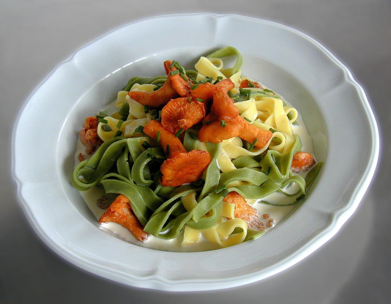 chanterelle noodle dish