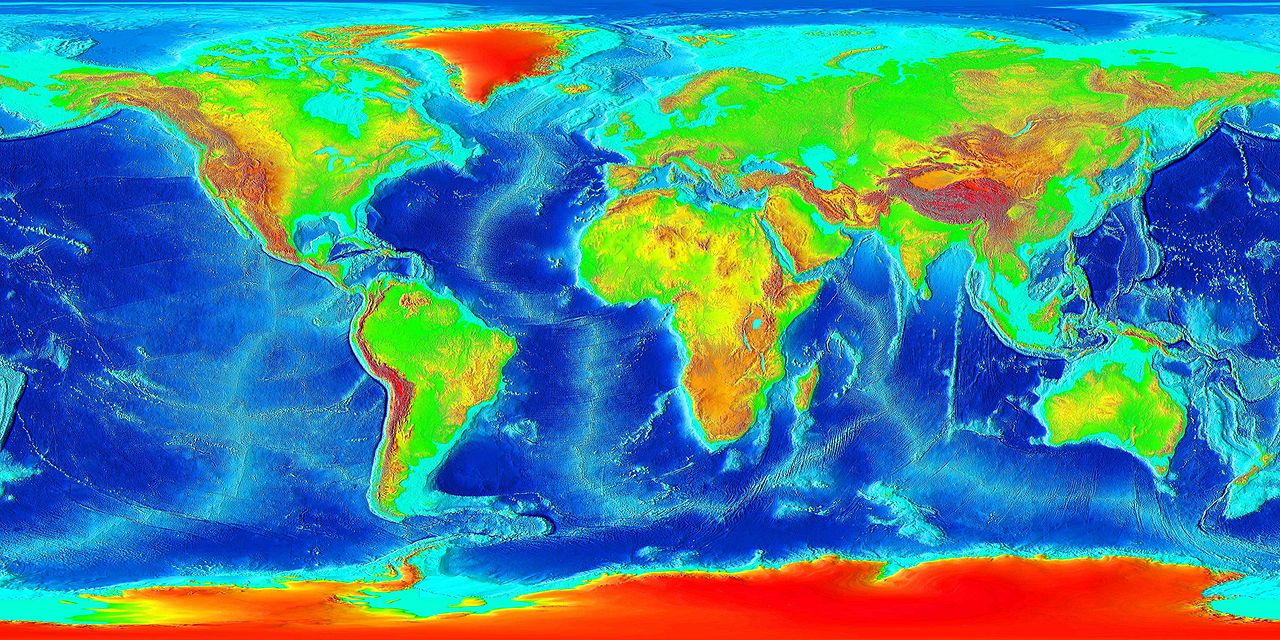 A map of the elevation of the earth including the bottom of the ocean.