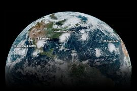 A chain of tropical cyclones (labeled) were lined up across the Western Hemisphere on Sept. 4, 2019. (Credit: NASA Earth Observatory, Joshua Stevens; NOAA National Environmental Satellite, Data, and Information Service)