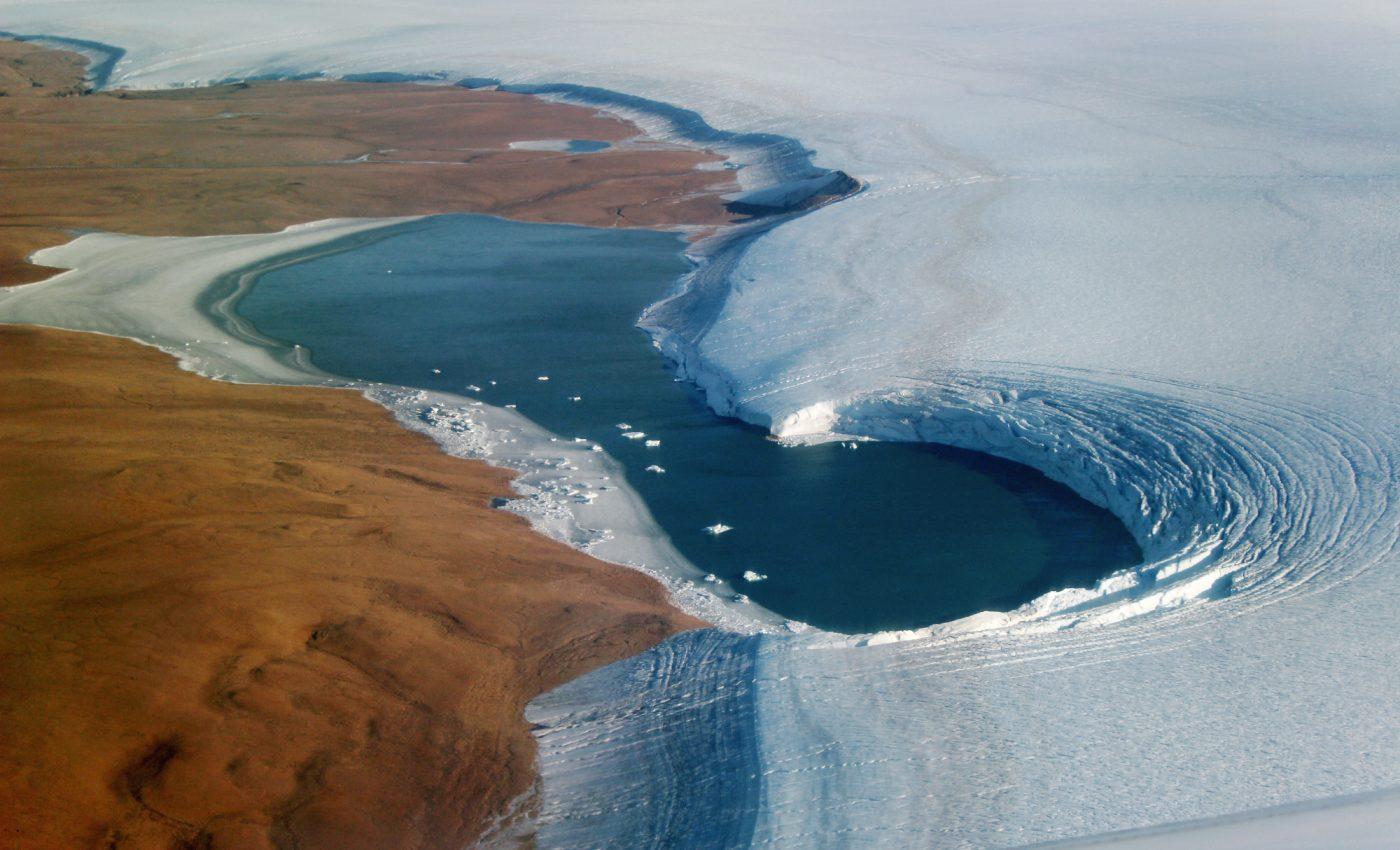Proglacial lake borders the Humboldt Glacier