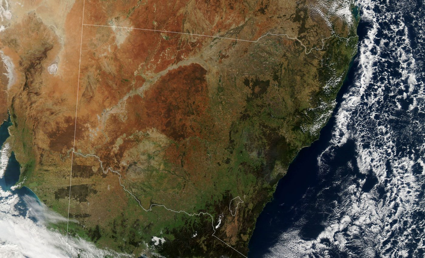 Today's Image of the Day from NASA Earth Observatory shows the return of a green landscape in southeastern Australia after nearly three years of drought.