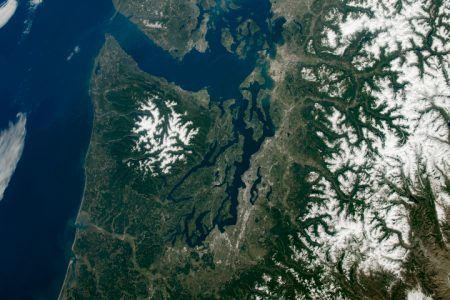 Today's Image of the Day from NASA features the Cascade Mountains in the Pacific Northwest, which extend from southern British Columbia down to northern California.
