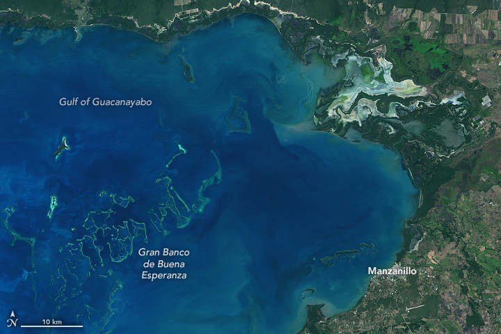 Today's Image of the Day from NASA Earth Observatory features the Gulf of Guacanayabo, an inlet of the Caribbean Sea near the southern coast of Cuba.