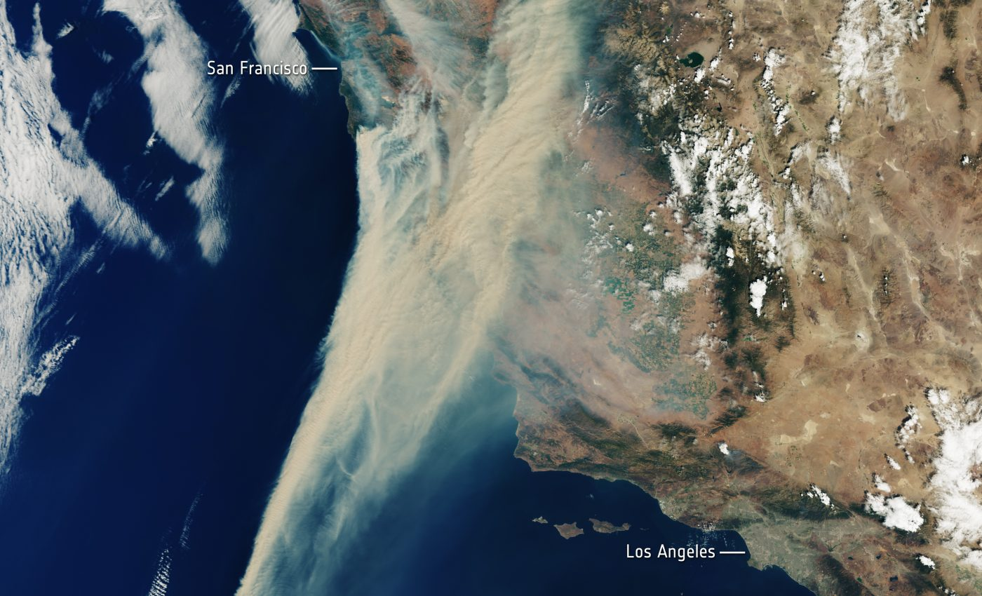 Today's Image of the Day from the European Space Agency shows a massive amount of wildfire smoke lingering over California and the Pacific Ocean.