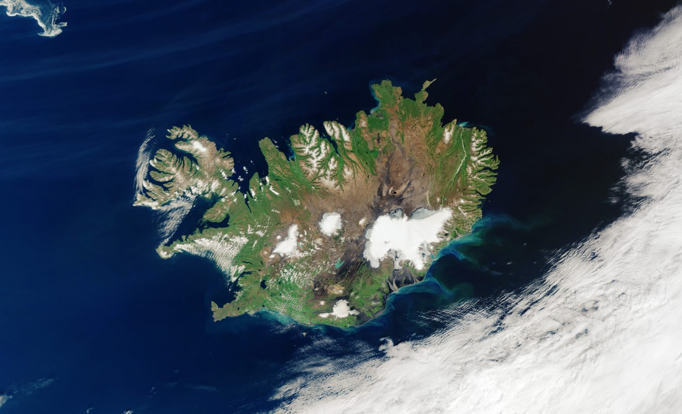 Today's Image of the Day from the European Space Agency features a rare view of Iceland from the Copernicus Sentinel-3 satellite on a cloud-free day.