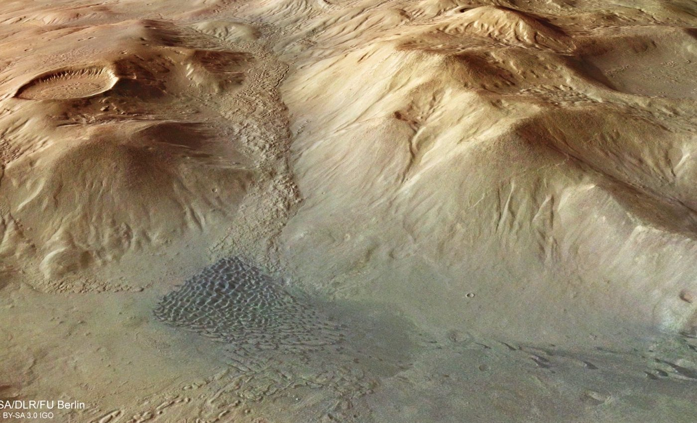 Today's Image of the Day from the European Space Agency features a three-dimensional view of the Nereidum Mountain Range on Mars.