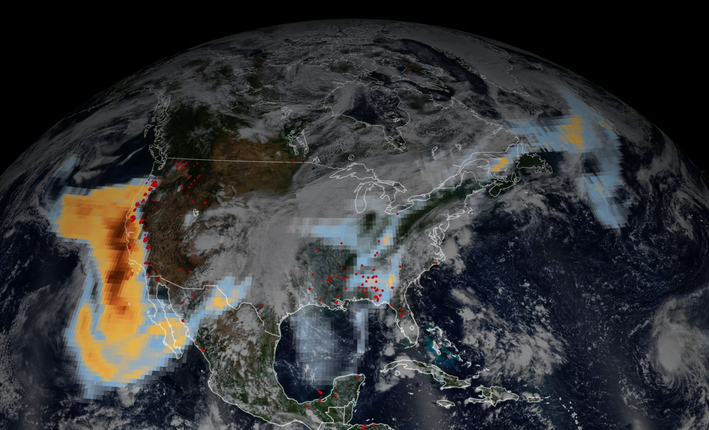 Today's Image of the Day from NASA Earth Observatory shows the extent of aerosols that were released from devastating wildfires in the western United States and traveled across the country.