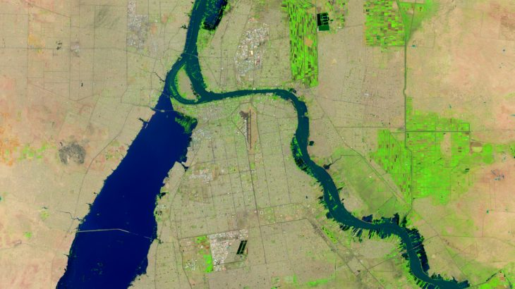 Today's Image of the Day from NASA Earth Observatory shows flooding in Khartoum, the capital of Sudan, on September 2, 2020.