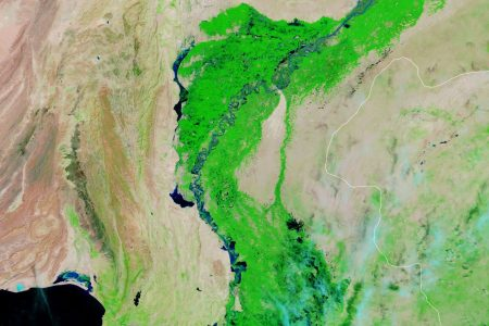 Today's Image of the Day from NASA Earth Observatory shows devastating flooding across the Sindh province in southeastern Pakistan, where historic amounts of rain has fallen in recent weeks.
