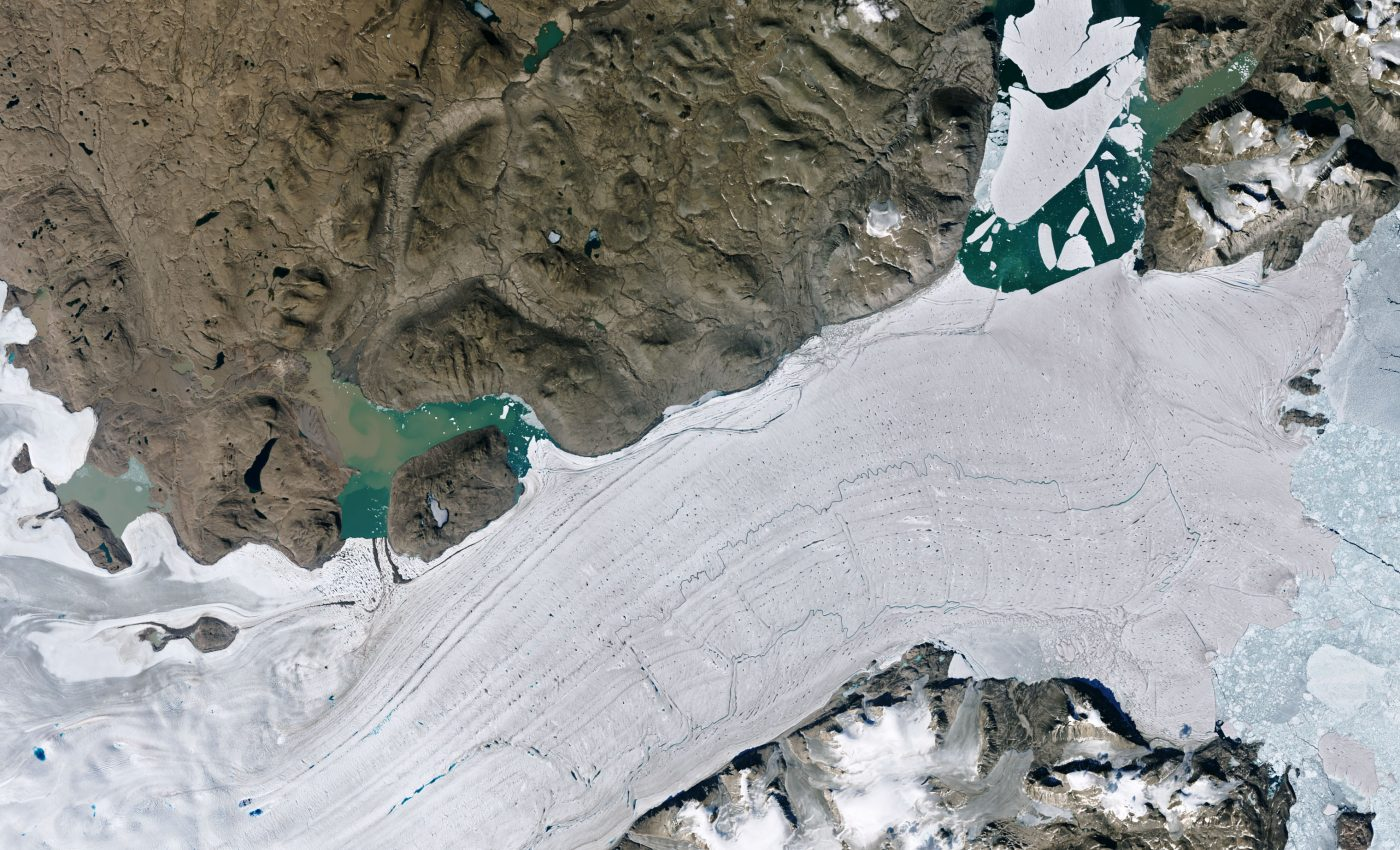 Today's Image of the Day from NASA Earth Observatory features the Spalte Glacier in northeast Greenland, which has now broken up into numerous icebergs.