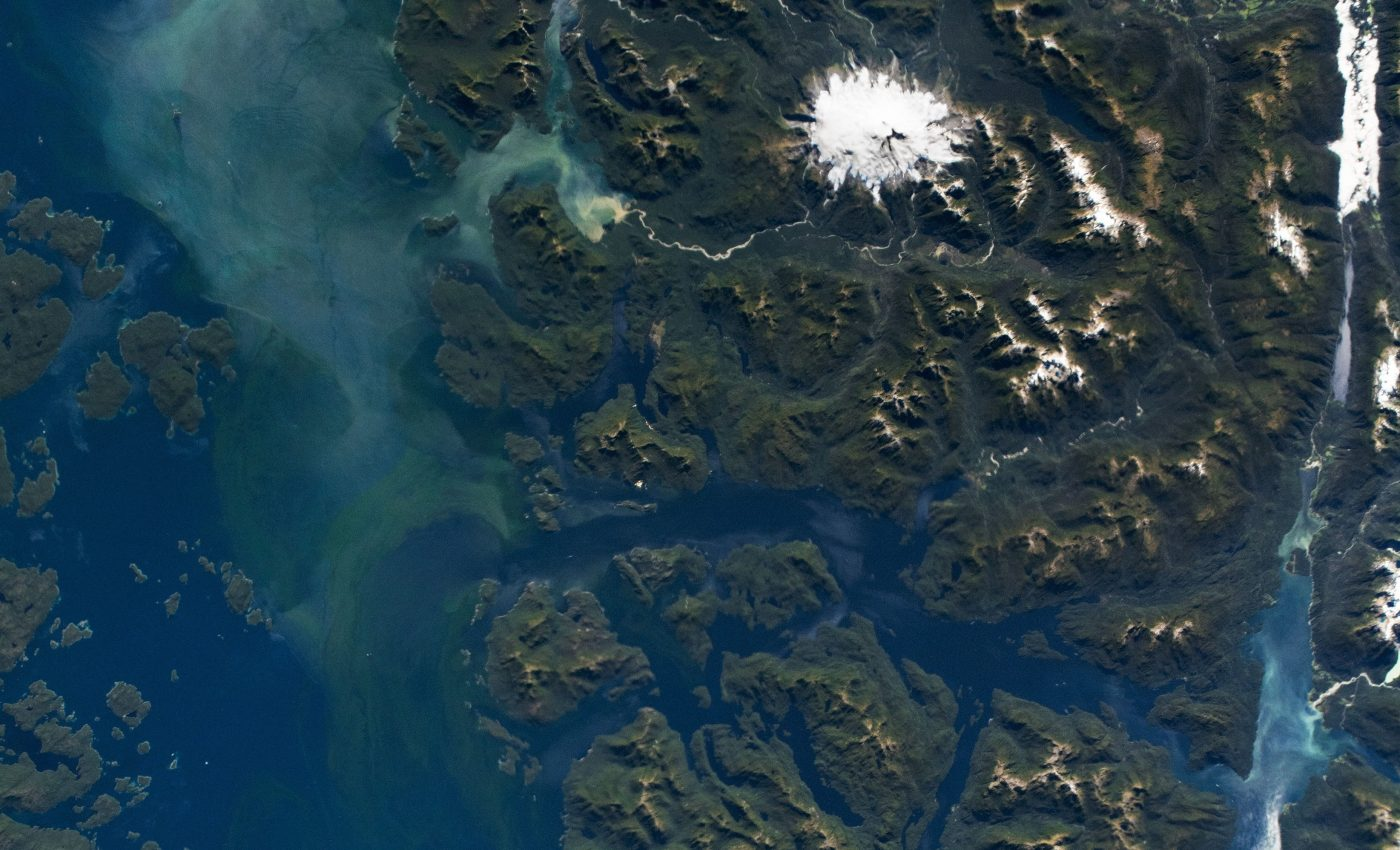 Today's Image of the Day from NASA Earth Observatory features an astronaut's view of the Moraleda Channel in the northern Patagonian Andes.