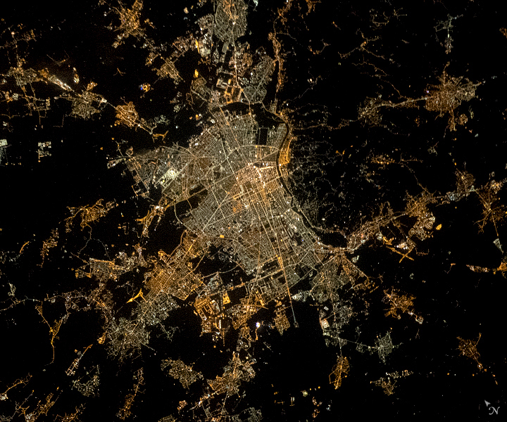 Today's Image of the Day from NASA Earth Observatory features a nighttime view of Turin in northwestern Italy.