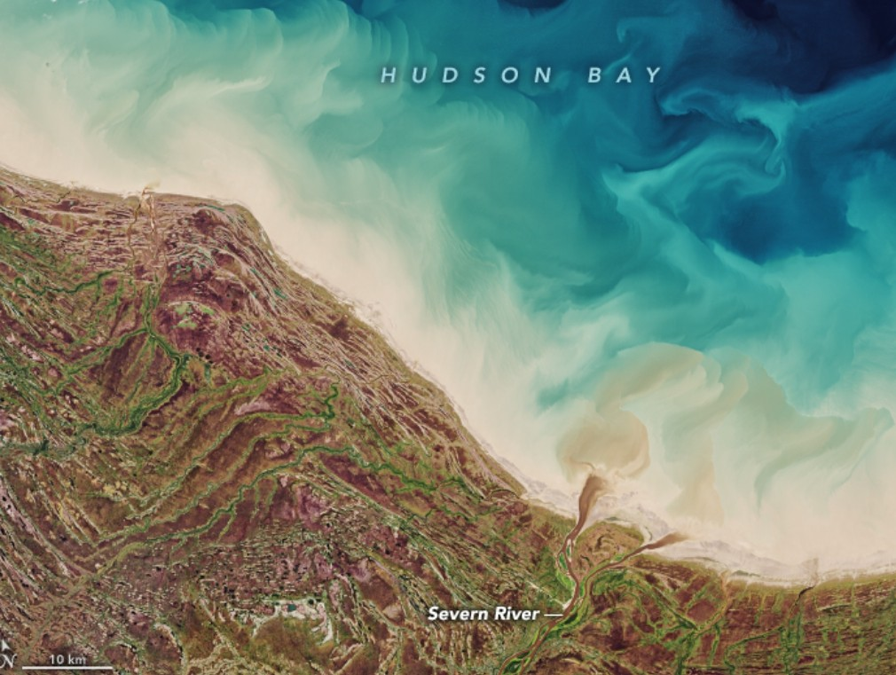 Today's Image of the Day from NASA Earth Observatory features Hudson Bay, which is located in northeastern Canada just south of the Arctic Circle.