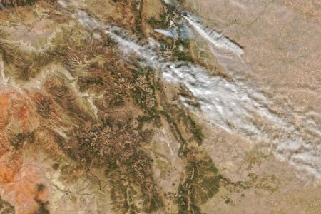 Today's Image of the Day from NASA Earth Observatory shows smoke plumes from the Cameron Peak fire in northern Colorado.