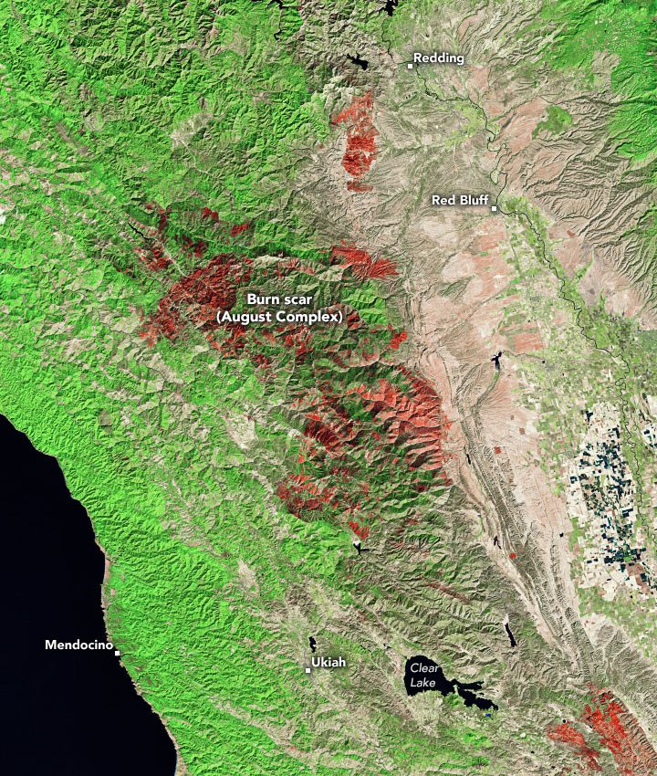 Today's Image of the Day from NASA Earth Observatory shows the burn scar from the August Complex fire in Northern California.