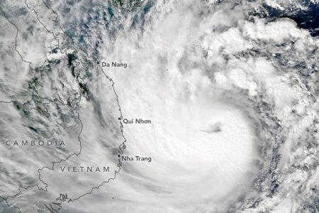 Today's Image of the Day from NASA Earth Observatory shows Typhoon Molave as it crossed the South China Sea, barreling its way toward Vietnam on October 27, 2020.