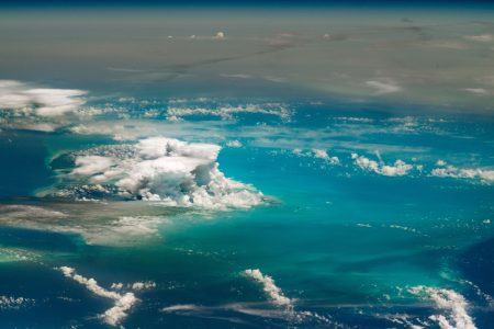 Today's Image of the Day from NASA Earth Observatory shows thunderstorms developing over Andros Island in the Bahamas.