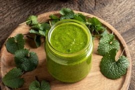 pesto made from garlic mustard leaves