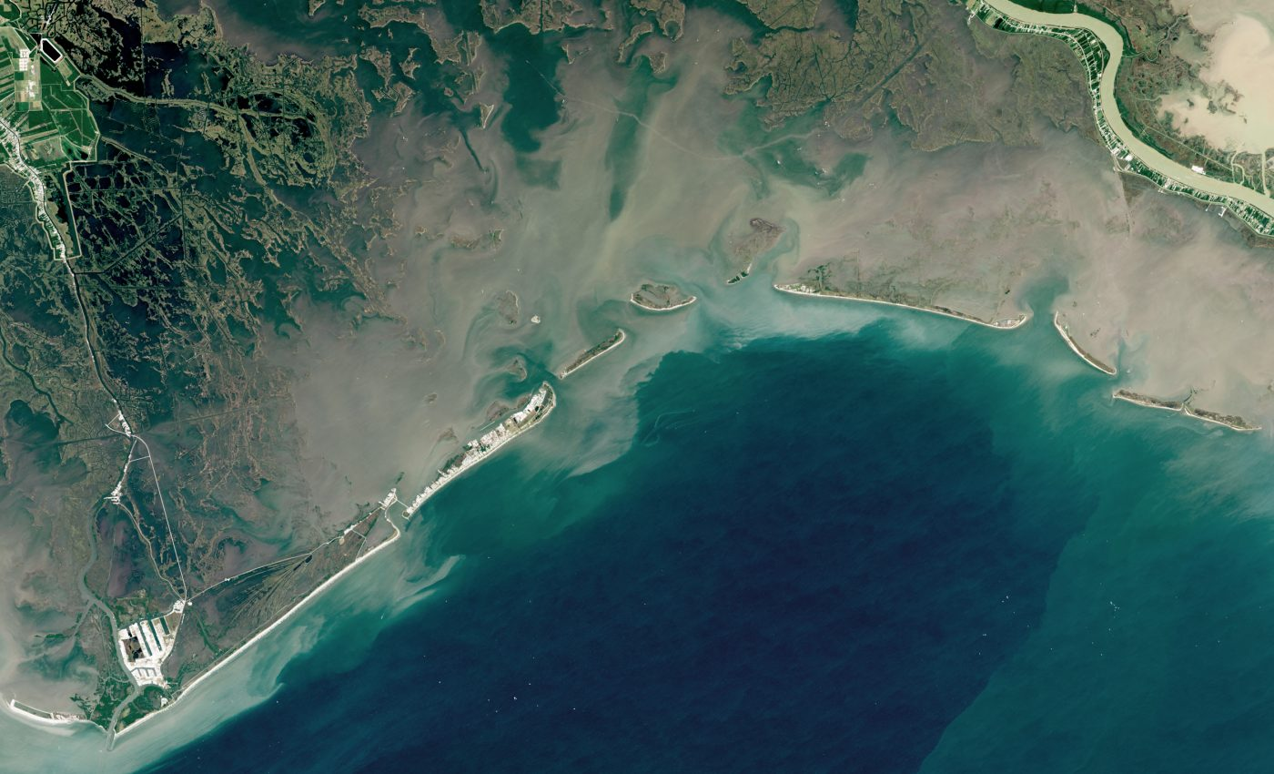 Today's Image of the Day from NASA Earth Observatory features the Barataria Bay in Louisiana, which has lost an estimated 430 square miles of land