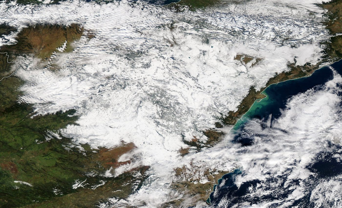 Today's Image of the Day from NASA Earth Observatory shows extreme snowfall across Spain, where the capital city of Madrid has barely seen any snow for the last ten years.