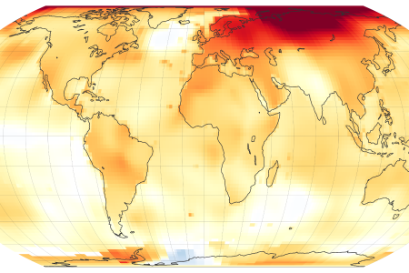 Today's Image of the Day from NASA Earth Observatory features a map of global temperature anomalies in 2020, which tied with 2016 for the warmest year on record.