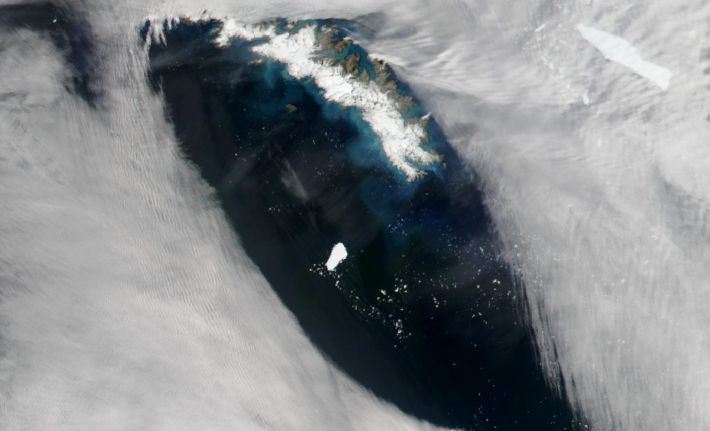 Today's Image of the Day from NASA Earth Observatory features a giant Antarctic iceberg that has been drifting in the southern Atlantic Ocean since July of 2017.