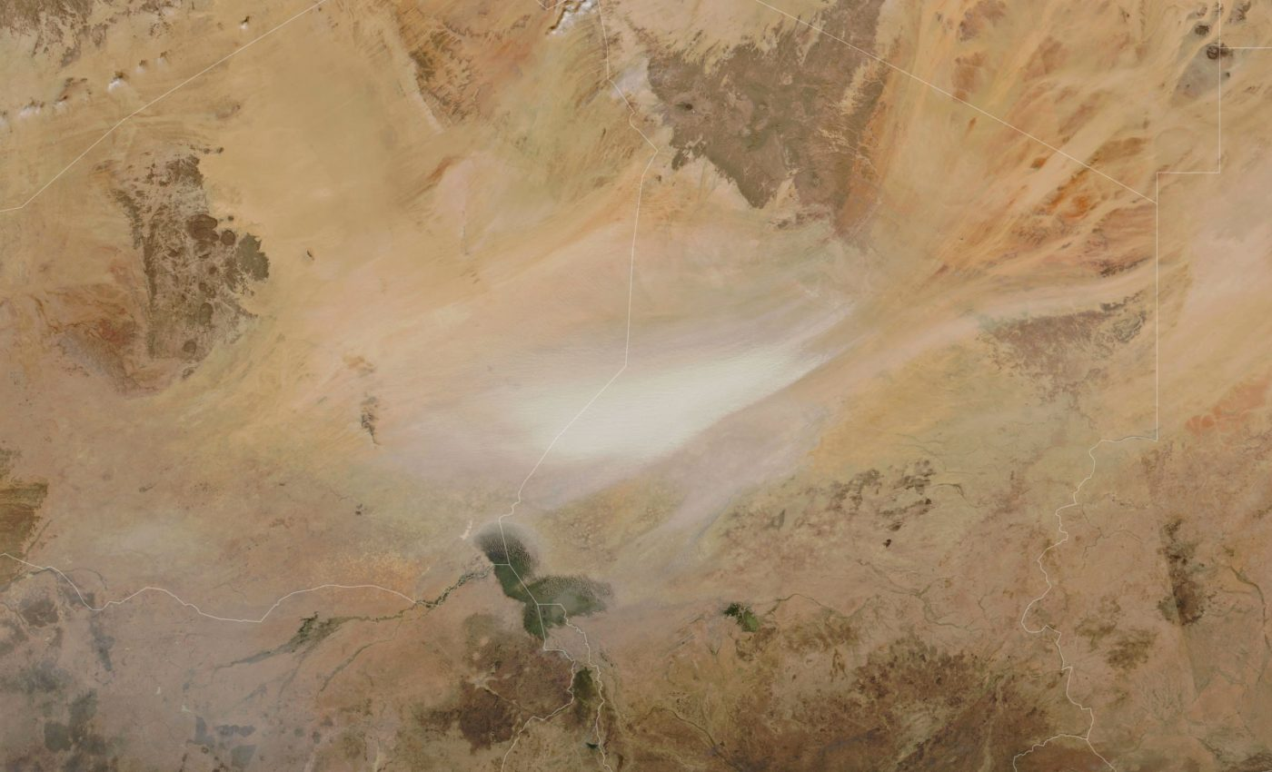 Today's Image of the Day from NASA Earth Observatory shows dust stirred up across the Bodélé Depression, the point of the lowest land elevation in Chad.