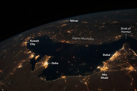 Today's Image of the Day from NASA Earth Observatory features a nighttime view of the coastal cities surrounding the Persian Gulf.