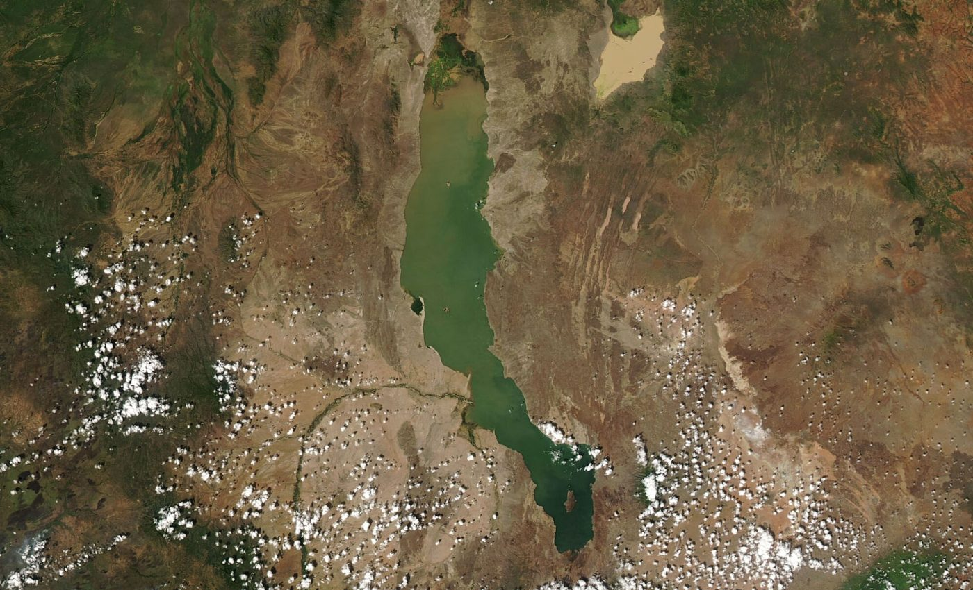 Today's Image of the Day from NASA Earth Observatory features the largest permanent desert lake in the world, Lake Turkana.