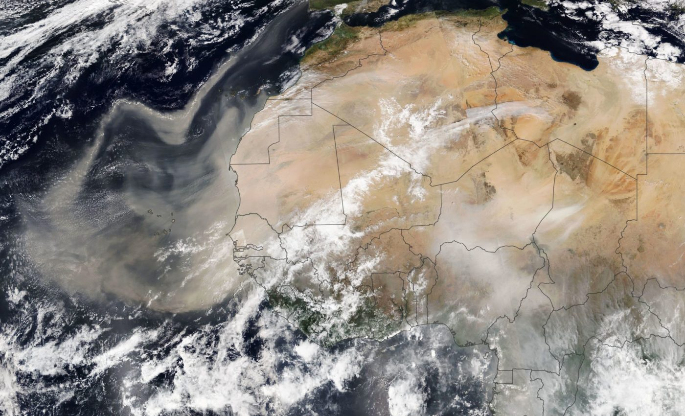 Today's Image of the Day from NASA Earth Observatory shows Saharan dust drifting north toward Europe.