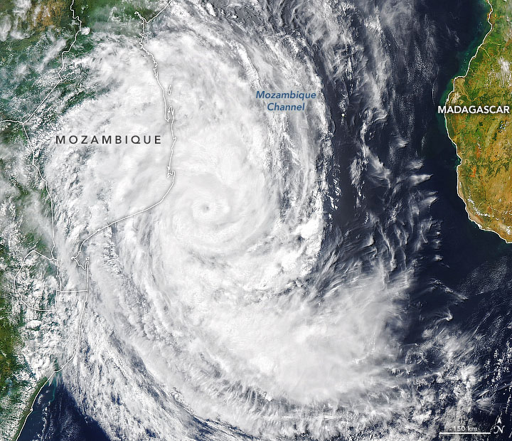 Today's Image of the Day from NASA Earth Observatory shows Tropical Cyclone Guambe headed for Mozambique.