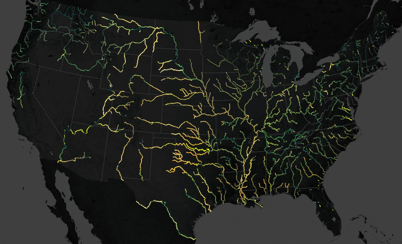 Today's Image of the Day from NASA Earth Observatorymaps the colors of large rivers across the United States