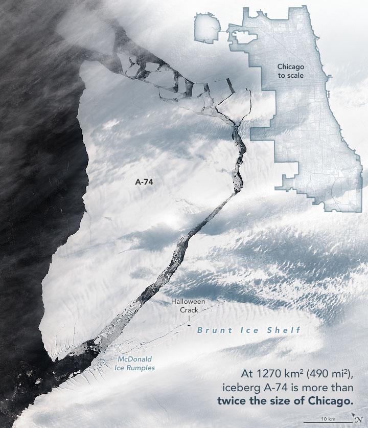 Large iceberg breaks away from Antarctica's Brunt Ice Shelf • Earth.com - Earth.com