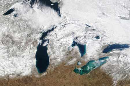 Today's Image of the Day from NASA Earth Observatory shows the extent of ice cover across the Great Lakes on March 3, 2021.
