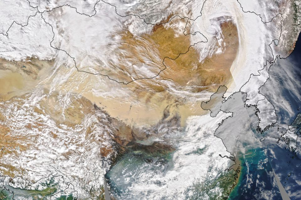 Today's Image of the Day from NASA Earth Observatory features a glimpse of the largest and strongest dust storm to hot Beijing in a decade