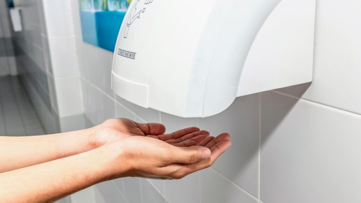 High speed air dryers can spread germs from poorly washed hands to clothing and then onto other surfaces outside of the restroom