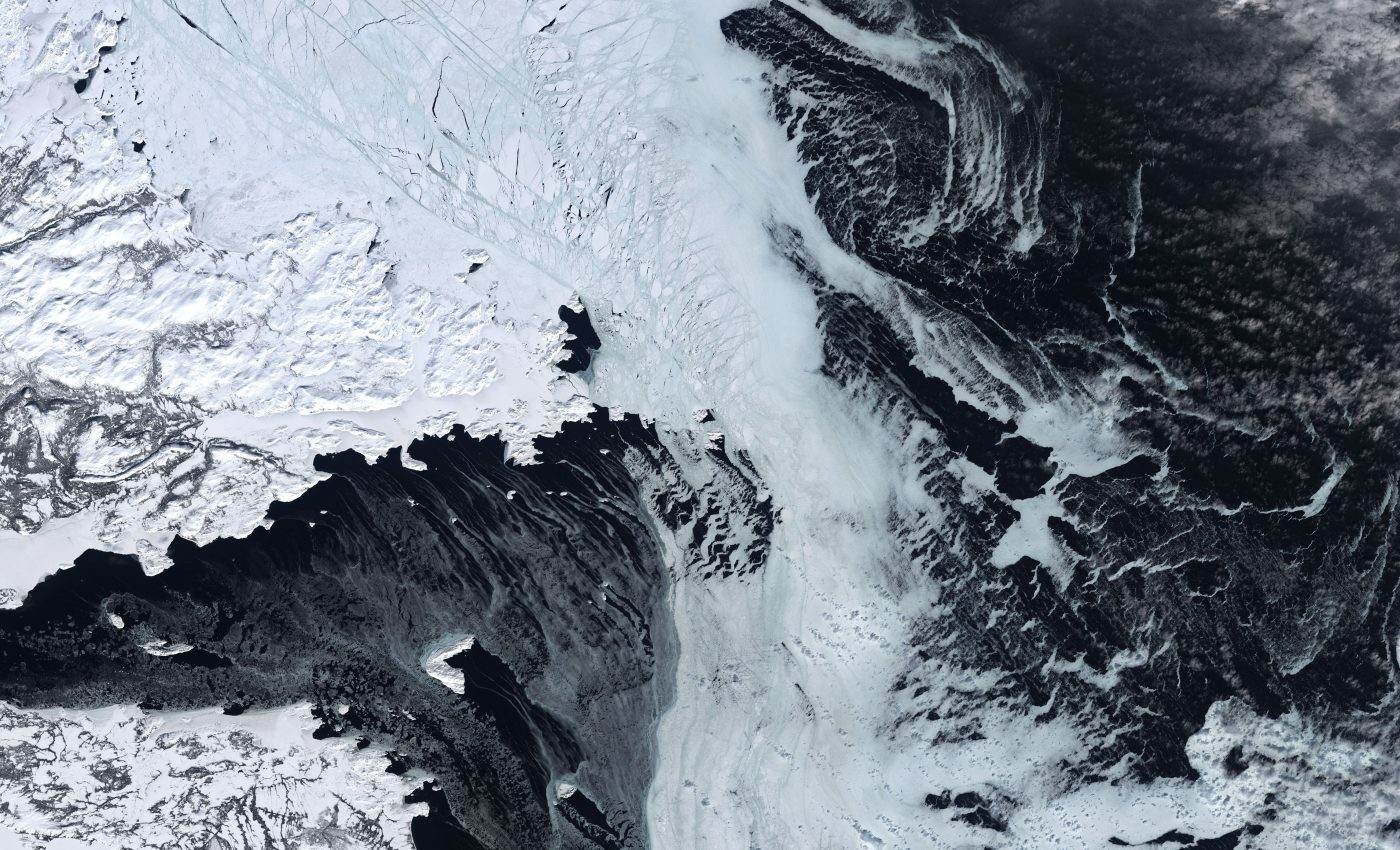 Today's Image of the Day from NASA Earth Observatory features ice of various shapes across the Labrador Sea, located between Greenland and Canada's Labrador Peninsula