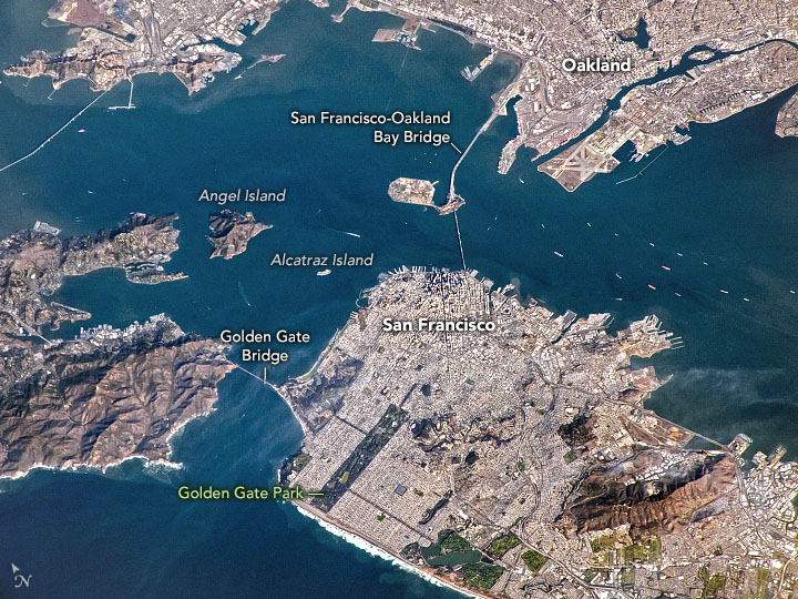 Today's Image of the Day from NASA Earth Observatory features a clear December day across San Francisco Bay