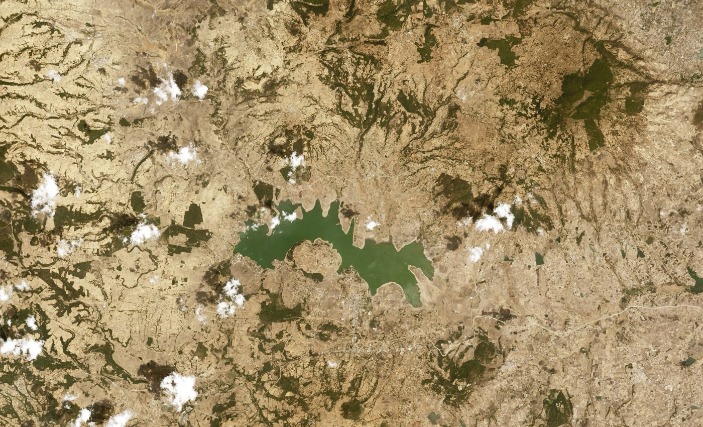 Today's Image of the Day from NASA Earth Observatory features the Villa Victoria reservoir, Mexico