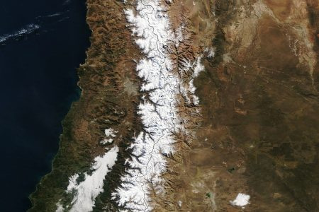 Today's Image of the Day from NASA Earth Observatory features the first major snowstorm of fall 2021 in South America