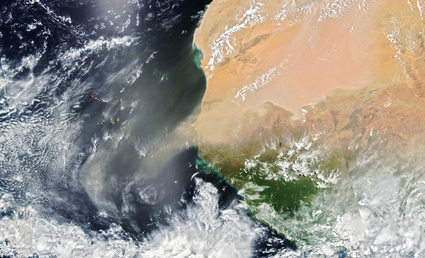 Today's Image of the Day from NASA Earth Observatory features dust blowing out of the Sahara Desert and over the central Atlantic Ocean