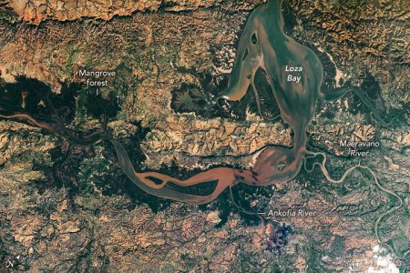 Today's Image of the Day from NASA Earth Observatory features the Loza Bay wetlands in northwest Madagascar
