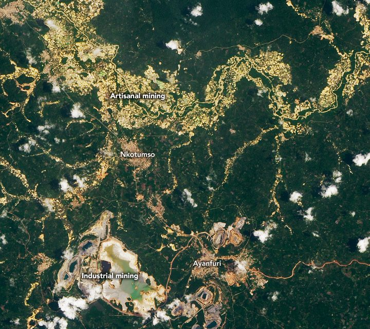 Today's Image of the Day from NASA Earth Observatory features a large-scale gold mine and several artisanal mines in Ghana, where people have been mining for gold for centuries.