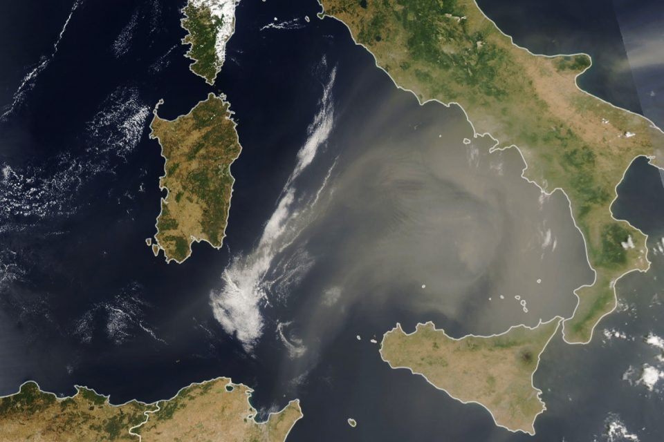 Today's Image of the Day from NASA Earth Observatory shows dust from the Sahara moving toward Italy.
